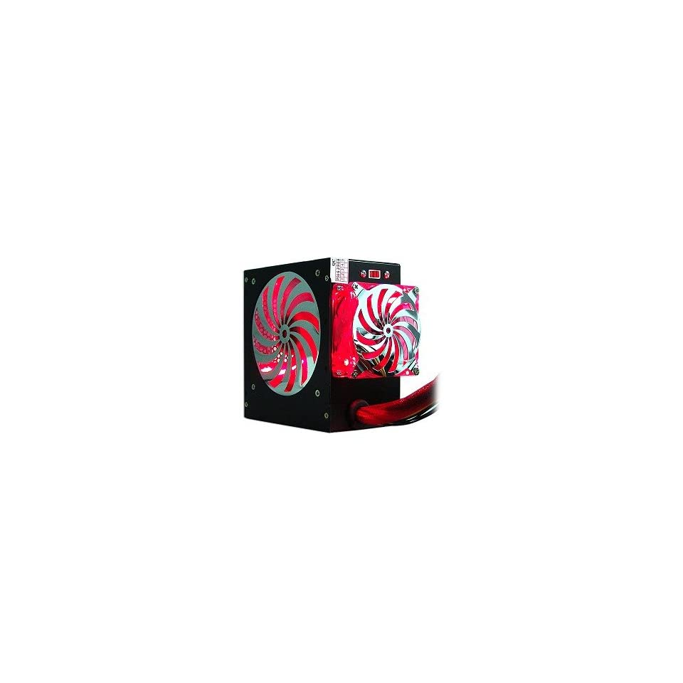 580 Watt 20+4 pin Dual Fan ATX Power Supply with SATA & Red LEDs (Black)