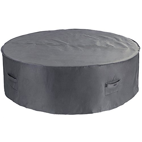 (Patio Watcher Large Round Patio Table and Chair Set Cover Durable and Waterproof Outdoor Furniture Cover, Grey)