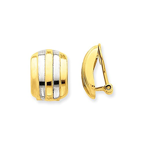 14k Gold & Rhodium Ribbed Non-pierced Omega Back Earrings (0.67 in x 0.47 in)