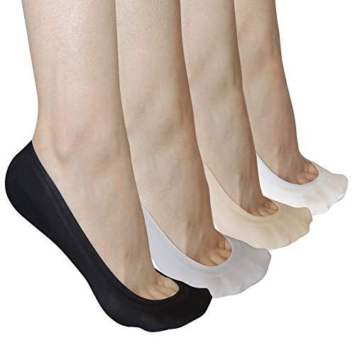 No Show Socks Women Non Slip Ultra Low Cut 8 Pairs, Hidden Cotton Ice Silk Socks, Loafer Heel Flat Boat Invisible Socks