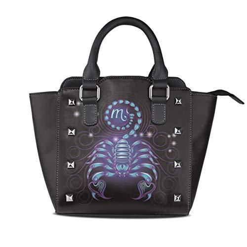 Womens Top-Handle Handbag Scorpio Zodiac Signs Rivet PU Leather Tote Crossbody Bag Shoulder Bag Purse