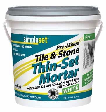 Simple Set STTSW1-2 1 Gallon White Pre-Mixed Tile & Stone Thin-Set Mortar
