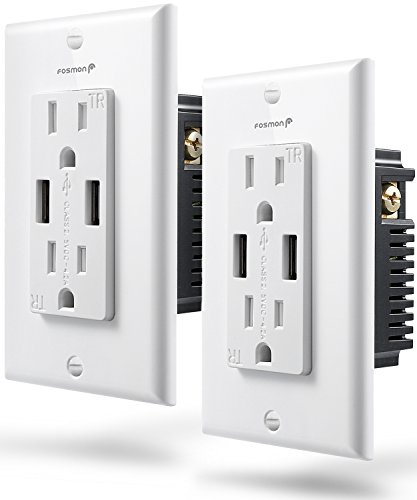 Wall Outlet with Dual USB Charger 2 Pack, Fosmon 15A 125V Tamper Resistant, 60Hz 1875 Watts In Wall Receptacle Wall Plate with 2 USB 4.2A Port, ETL Listed - White