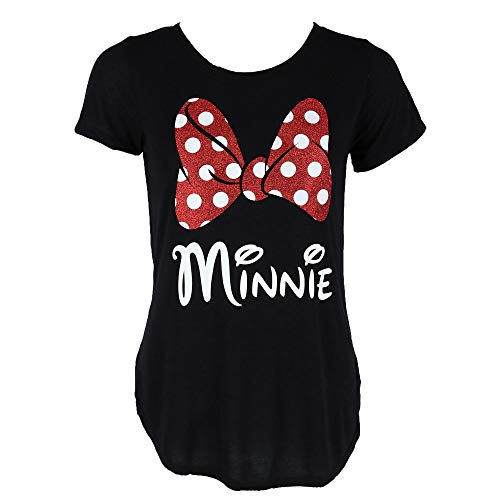 Disney Minnie Red Sparkle Polka Dot Bow T-Shirt for Moms (Women's, Small) -