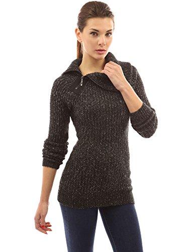 PattyBoutik Womens Asymmetric Neck Raglan Marled Sweater