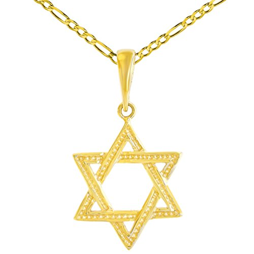 (Solid 14K Yellow Gold Textured Jewish Star of David Charm Pendant Figaro Chain Necklace, 16
