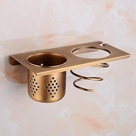 GuoEY Secador de Pelo de Pared Retro Bronce Golpe de Pared Accesorios de baño de diseño Compacto de Almacenamiento en estanterías: Amazon.es: Hogar