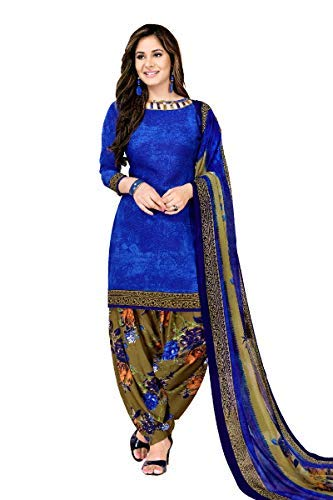 Fashion Valley Women's Crepe Dress Material Patiyala Style Churidar Unstitched Suit with Dupatta