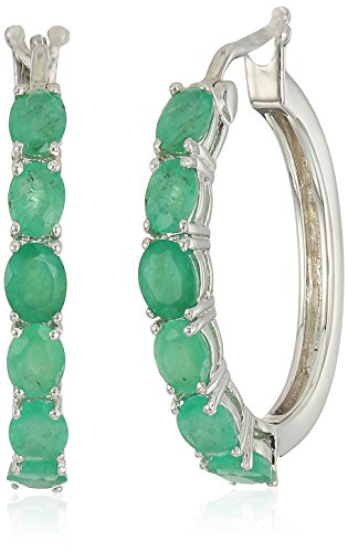 Genuine Silver Emerald Earrings (Sterling Silver Genuine Emerald Oval Hoop Earrings, 3/4