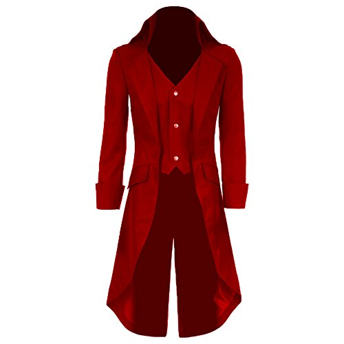 Boys Gothic Tailcoat Jacket Steampunk Long Coat Halloween Costume (Red, 3T) -