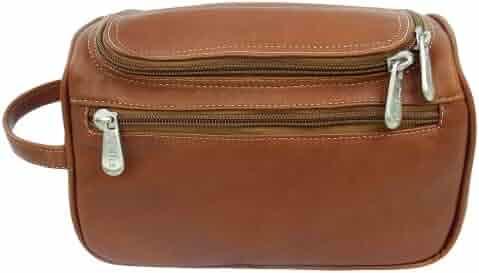 Piel Leather U-Zip Toiletry Kit, Saddle, One Size