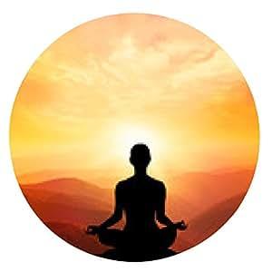 alfombrilla de ratón practicante de yoga durante la puesta de sol la meditación - ronda - 20cm