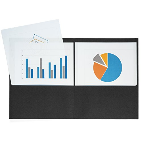 Blue Summit Supplies 25 Two Pocket Folders, Designed for Office and Classroom Use, Black, 25 Pack Colored 2 Pocket Folders