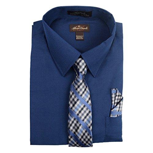 Alberto Danelli Men's Long Sleeve Dress Shirt with Matching Tie and Handkerchief, XLarge / 17 Neck -34/35 Sleeve, ()