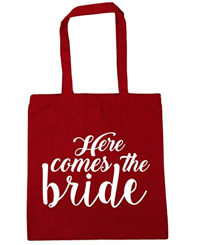 Gym x38cm 10 bride Here the 42cm Bag Shopping HippoWarehouse comes litres Beach Tote Red Classic vYwgvZ
