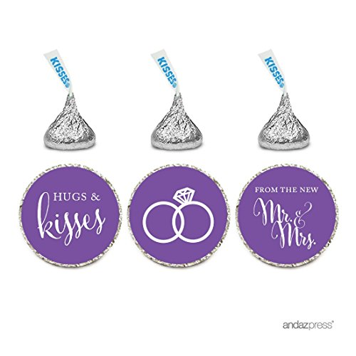Andaz Press Chocolate Drop Labels Stickers, Wedding Hugs & Kisses from The New Mr. & Mrs, Royal Purple, 216-Pack, for Bridal Shower Engagement Hershey's Kisses Party Favors Decor