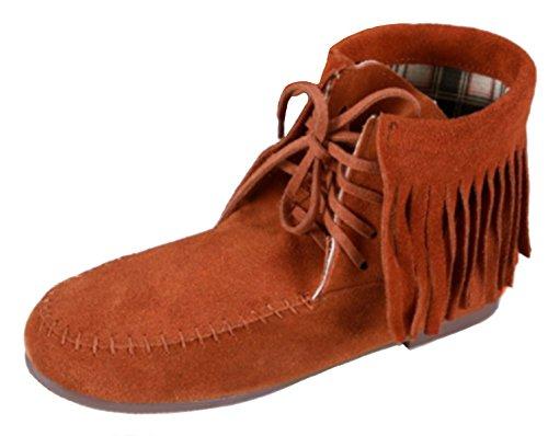 Moccasins Camel Boots Tassels Up Biker Lace Ankle Fringe Women's DADAWEN w8qtz11