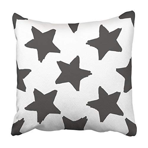 Black Abstract Stars Pattern White Graphic Symbol Christmas Pillow Covers 18x18 Decorative Pillows Indoor Christmas Decorations