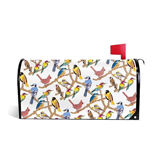 Mefond Magnetic Mailbox Cover Colorful Birds Pattern Post Letter Box Wraps Garden Yard Home Decor for Outside Oversized 25.5