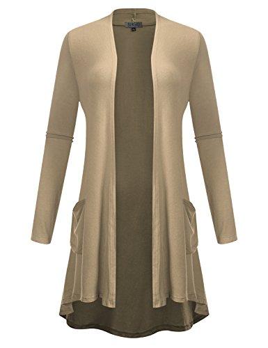Three Cardigan Button Long (BIADANI Women Long Sleeve Front Pockets High Low Drape Sweater Cardigan Stone Small)
