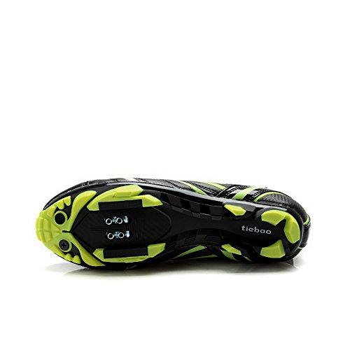 Tiebao High Cut MTB Fahrradschuhe AutoLock / SelfLock Carbon Winddichte Fahrradschuhe Grün