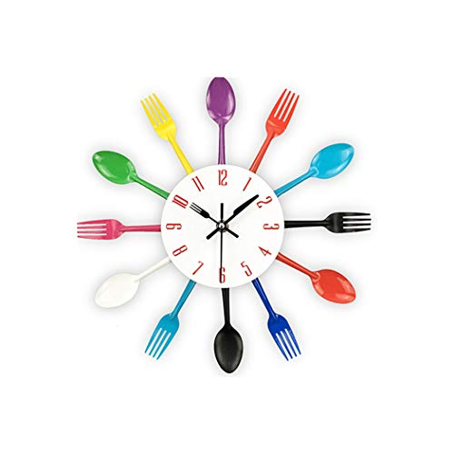 Wall Clock Cutlery Design Wall Clock Metal Colorful Knife Fork Spoon Kitchen Clocks Creative Modern Home Decor Antique Style Wall Watch,Multi