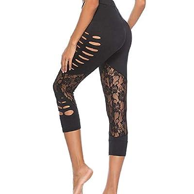 Pantalones Moda para Mujer Agujeros Empalme De Estilo Fiesta De Encaje Leggings Cintura Alta Color Sólido Stretch Slim Fit Leggings Pantalones Casuales: Ropa y accesorios