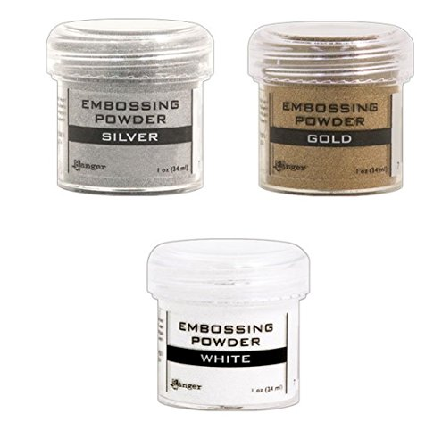 Ranger Embossing Powder Lot: Gold, Silver and White by Ranger
