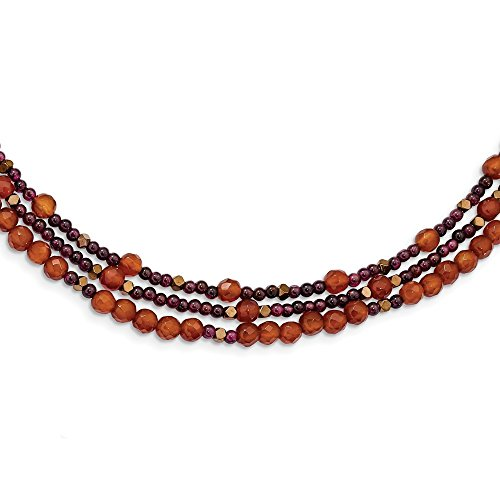 (ICE CARATS 925 Sterling Silver Gold Plated Carnelian/Garnet/Hematite 3 Strand 2 Inch Extension Chain Necklace Pendant Charm Natural Stone Fine Jewelry Gifts for Women for Her)