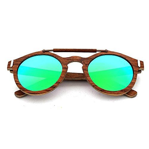 Gafas polarizadas Aclth Hechas Madera protección Azul de Verde UV400 Mano a de Unisex Sol Colores Unisex de Lentes Azul dFwrFZ
