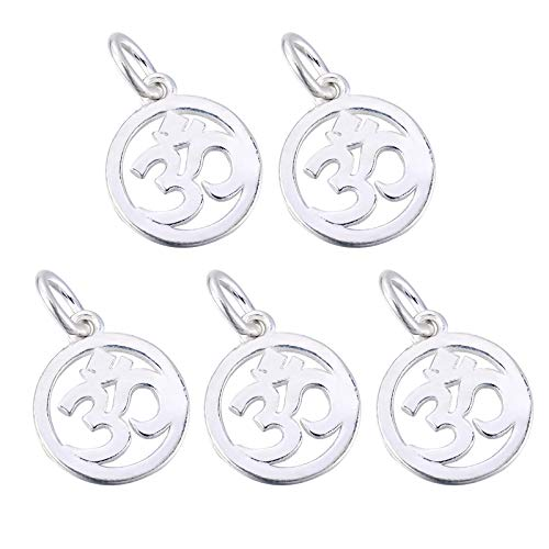 5Pcs Sterling Silver Hollow Out Aum Om Ohm Sanskrit Symbol Hollow Yoga Pendant for Jewelry Making, DIY Hand Craft,0.53