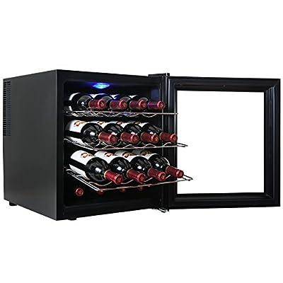 AKDY® 16 Bottle Single Zone Thermoelectric Freestanding Wine Cooler Cellar Chiller Refrigerator Fridge Quiet Operation