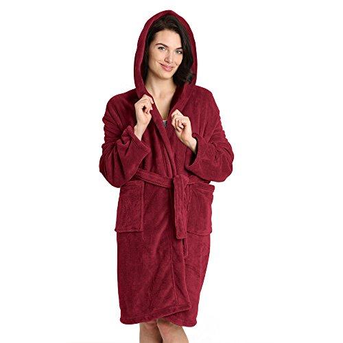 Pembrook Ladies Robe with Hood - Fleece – Dark Red - Size L/XL – Spa Bathrobe Women, (Super Stretch Hood)