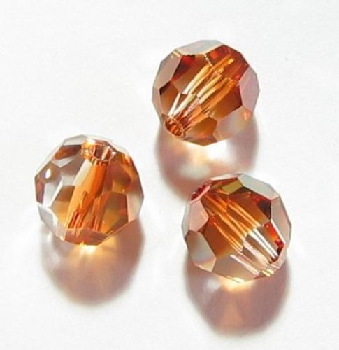 12 pcs Swarovski Crystal 5000 Round Faceted Bead Copper 6mm / Findings / Crystallized (Swarovski Copper Round Beads)