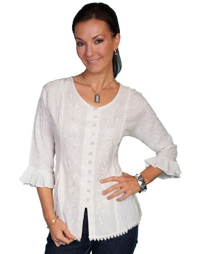 scully-womens-floral-embroidered-ruffled-sleeve-top-ivory-xx-large