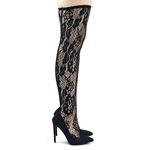 Coscia Alta Legging Morbido, Calza Vestito Floreale Pizzo Coperto Pompa Su Tacco Alto Nero