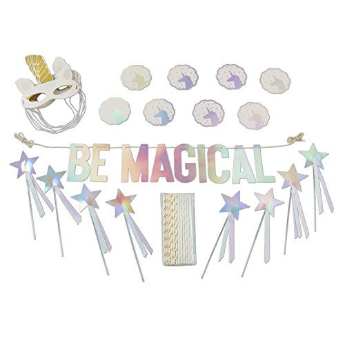 Kate Aspen 00141NA Be Magical Enchanted Unicorn Party Décor Kit (49 Piece, Mask, Wands, Coasters, Stra Decor and Favors, one size, multicolor