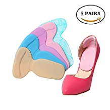 Crazy Cart 5 Pairs Heel Pads Cushion Grips, Shoes Boots High Heels Gel Inserts Insoles Liners
