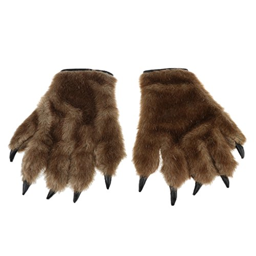 Dovewill Pair Of Brown Hairy Animal Paw Gloves Werewolf Wolf Bear Monster Costume Accessories