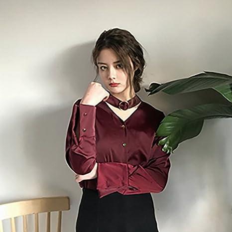 XXIN La Mujer De Color Sólido Suelto Camiseta Manga Larga Camisa con Cuello En V T-Shirt, Todo El Código, Vino Rojo: Amazon.es: Deportes y aire libre