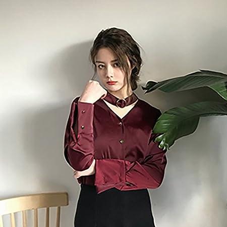 XXIN La Mujer De Color Sólido Suelto Camiseta Manga Larga ...