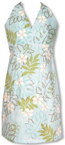 Sexy Halter Dress - Monstera Plumeria Line Art Hawaiian Aloha Crisscross Back Fitted Halter Sun Dress in Light Blue - L