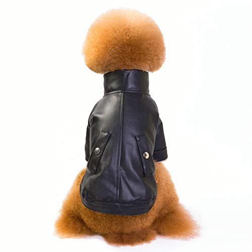 Cuteboom British Style Dog Cat Warm Leather Jacket Plus Velvet Thickened Puppy Winter Coat with Zipper (XL, Black)