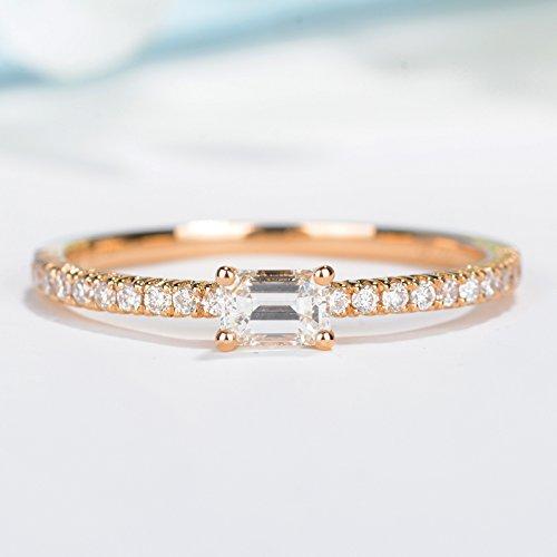 Rose gold diamond wedding band baguette ring half eternity band dainty wedding ring pave diamond wedding ring Stacking Stackable rings Promise ring (Ring Eternity Baguette Band Diamond)