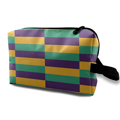 Mardi Gras Jester Makeup Cosmetic Case Women Cosmetic Train Case Pouch - Multi-Purpose Clutch Bag Pens Pencil Case, Carrying Case for Cosmetics, Pen, Eyeliner, Travel]()