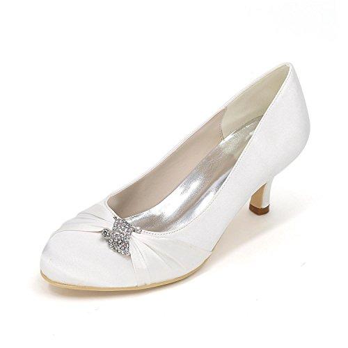 L@YC Women's Heels Spring / Wedding party / Fall Wedges / Heels / Round Toe Silk Wedding / Party & Evening White cLidG6B