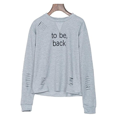 Besde Womens Ladies Casual Letters Printed Round Neck Hoodie Sweatshirt Sweater Casual Hooded Coat Pullover (XL, Gray)