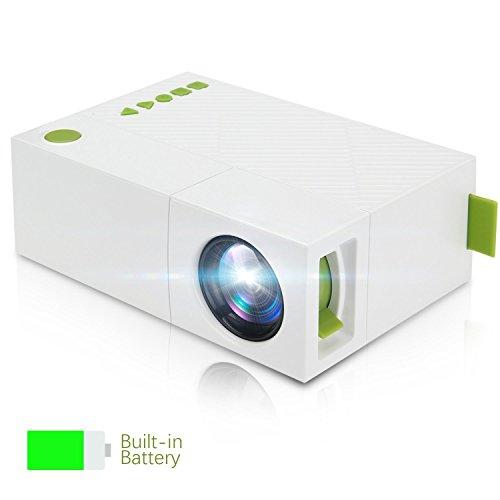 Mini Beamer, Winnes Mini Mobile Projektor, Tragbare LED Beamer mit Akku USB/AV/ARC Unterstützung TV Box Flash Drive…