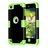 Case for iPod Touch Case for iPod Touch 5th Generation Case CheerShare 3 in 1 Hard PC Case Silicone Shockproof Heavy Duty High Impact Armor Hard Case for Apple iPod Touch 6 Case (Black+Green)