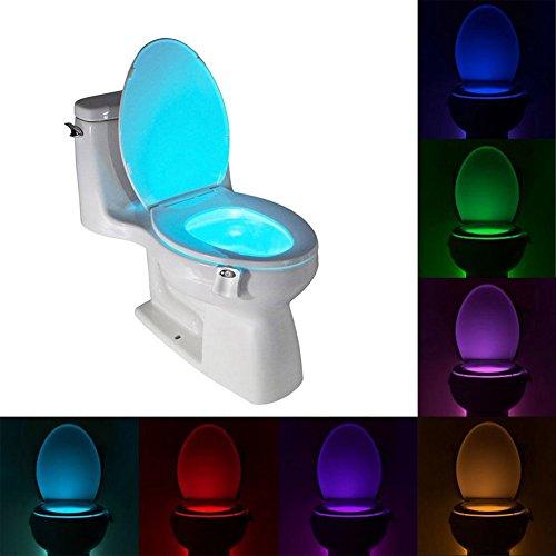 Uleade™ LED Toilet Light Sensor Motion Activated Glow Toilet Bowl Light Up Sensing Toilet Seat Night light Inside Bathroom Washroom 8 Color